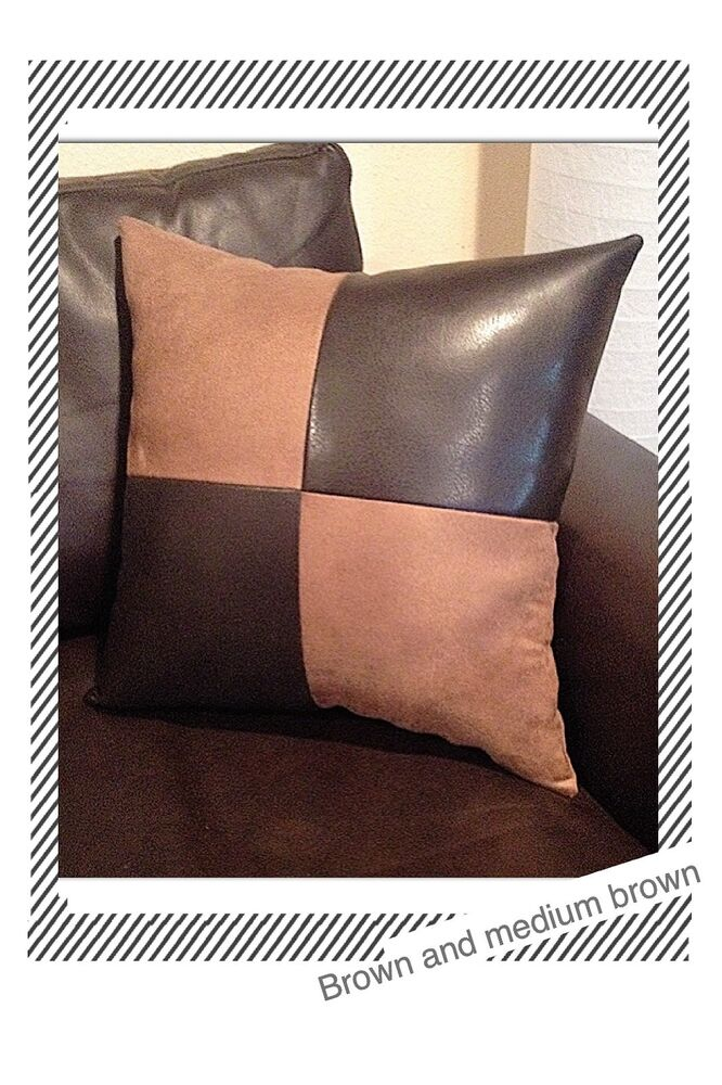 Home sofa brown leather fabric suede accent Decorative throw case Pillow cover eBay