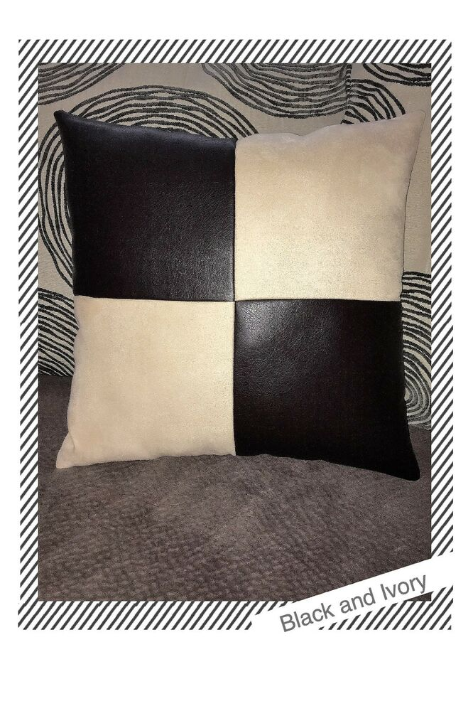 Home sofa brown leather ivory fabric Decorative throw cushion case Pillow cover eBay