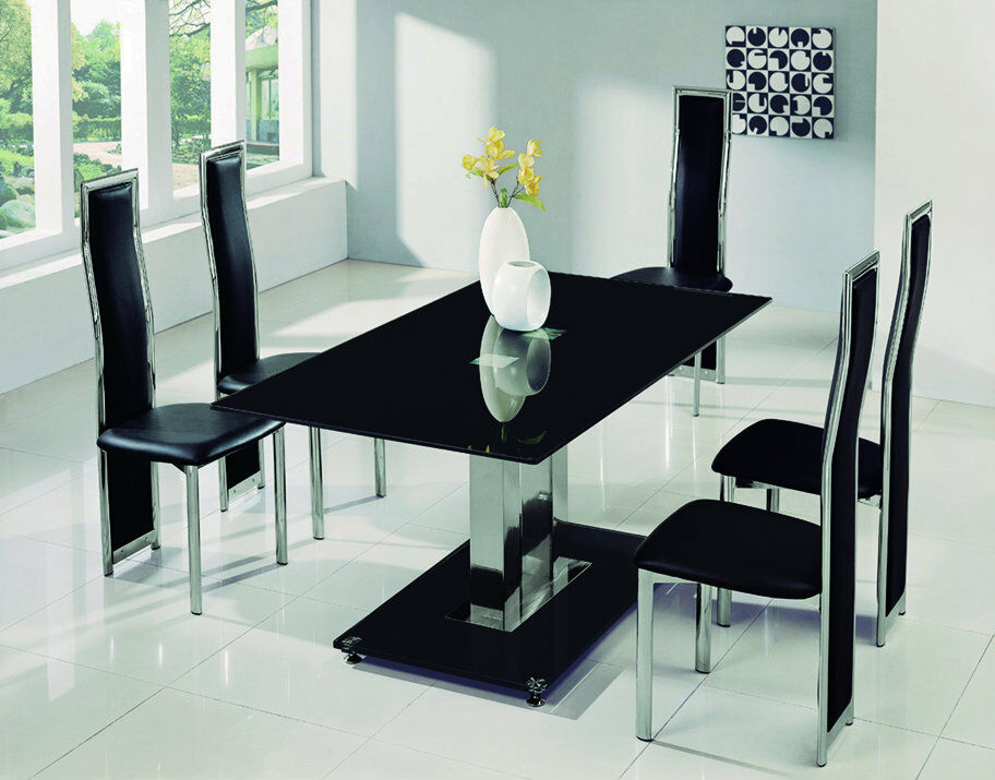 savio large glass chrome dining room table 6 chairs set