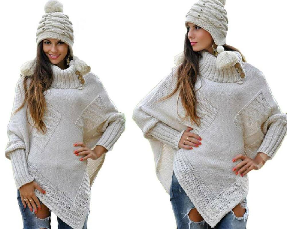 Maternity Thick Heavy Poncho Jersey Turtleneck Warm Jumper ...