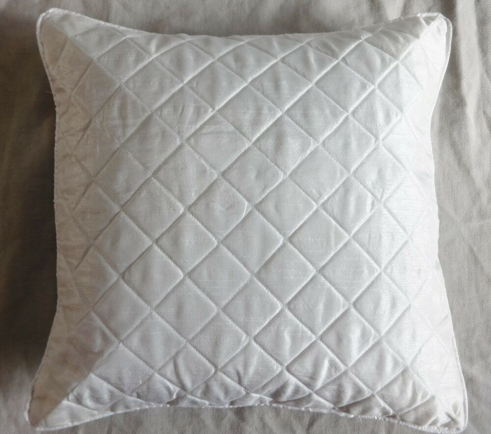 White Quilted Decorative Pillows : white quilted Pillow case designer couch cushion cover cord piping solid Plain eBay