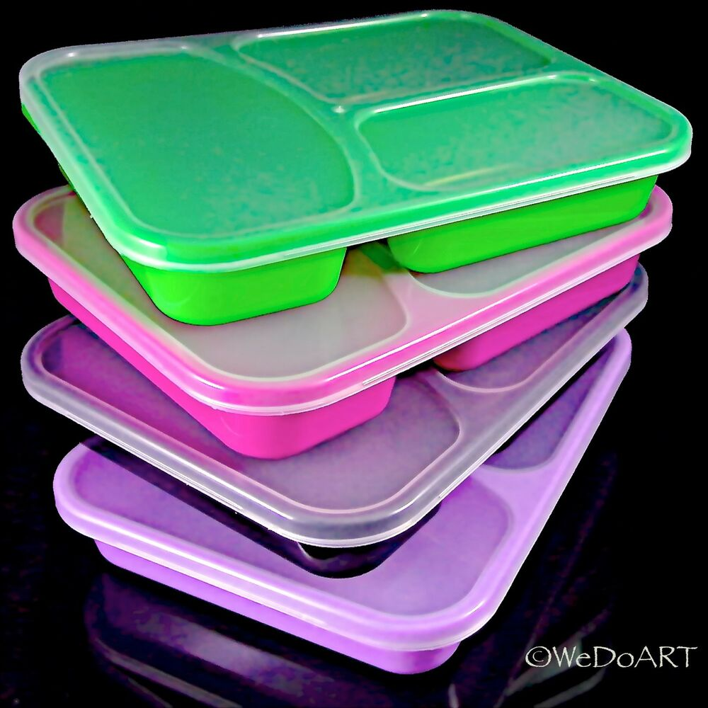color divided storage lunch box container freeze store serve microwave safe ebay. Black Bedroom Furniture Sets. Home Design Ideas