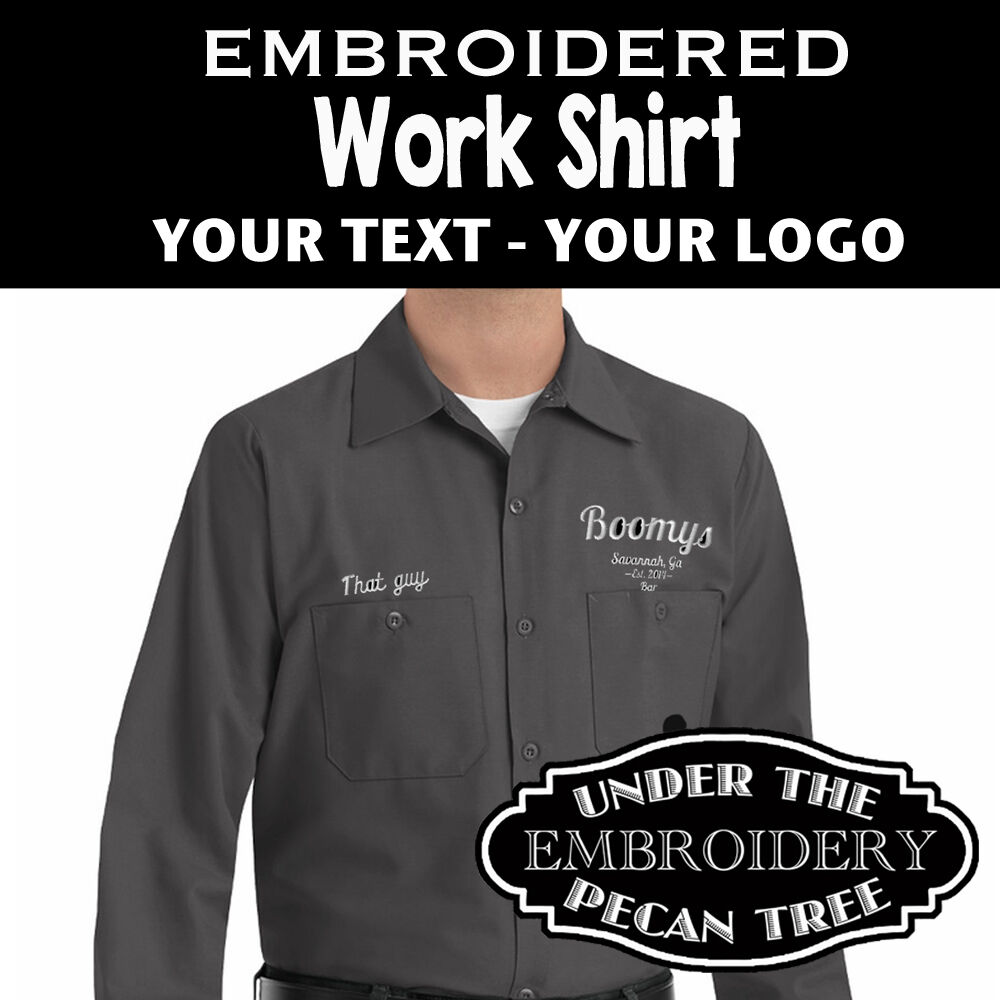Long sleeve button up uniform work shirt embroidered name