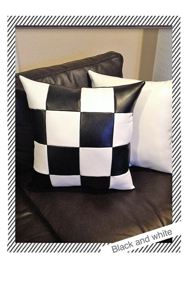 White Leather Throw Pillow : Home sofa squares black white leather decorative throw case cushion pillow cover eBay