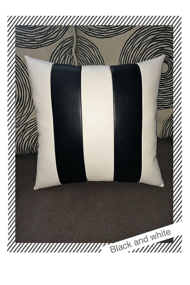 White Leather Throw Pillow : Home sofa black white stripes leather decorative throw case cushion pillow cover eBay