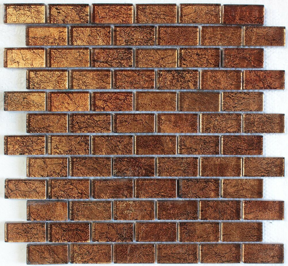 Brown Foil Glass Mosaic Tile 1 Quot X2 Quot Bath Kitchen