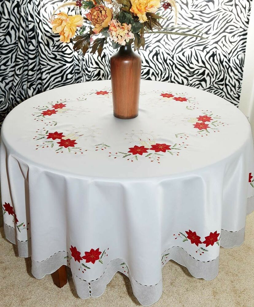 Vintage Christmas Embroidered Poinsettia Tablecloth oblong ...