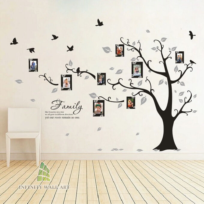 Family Tree Bird Photo Frame Vinyl Nursery Wall Quotes