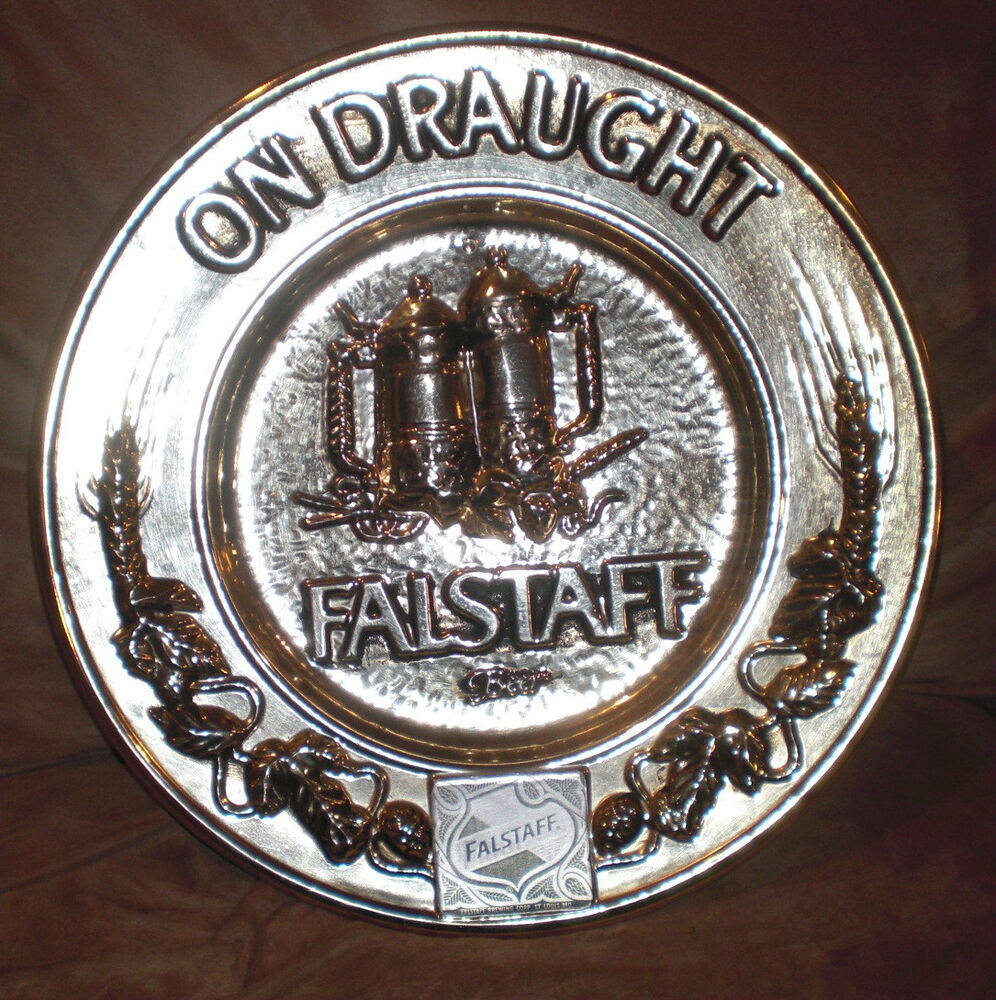 vguc falstaff beer 39 on draught plate plaque 39 aluminum wall plaque decoration ebay. Black Bedroom Furniture Sets. Home Design Ideas