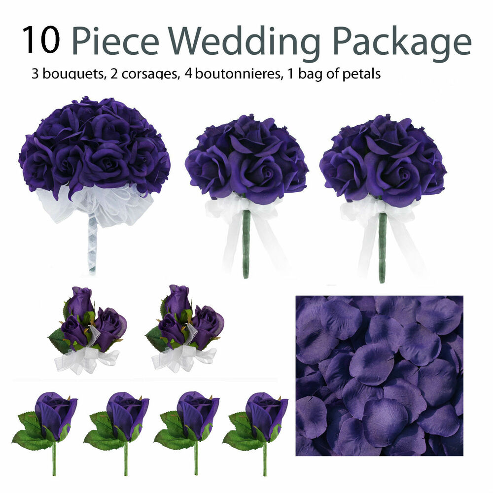 10 piece wedding package silk wedding flowers purple bridal bouquets ebay. Black Bedroom Furniture Sets. Home Design Ideas