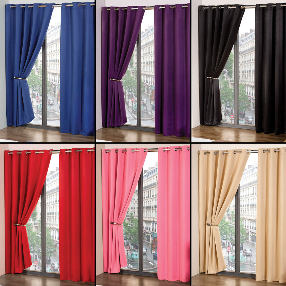 ring top thermal blackout pair eyelet ready made curtains black cream blue pink ebay. Black Bedroom Furniture Sets. Home Design Ideas