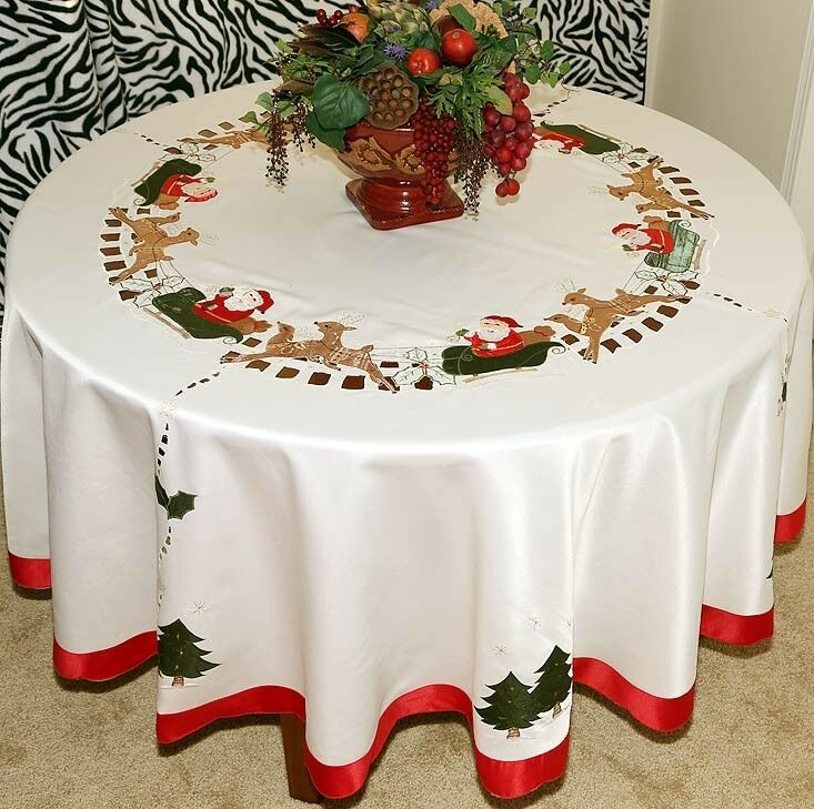 Vintage Christmas Embroidered Santa Tablecloth Round White ...