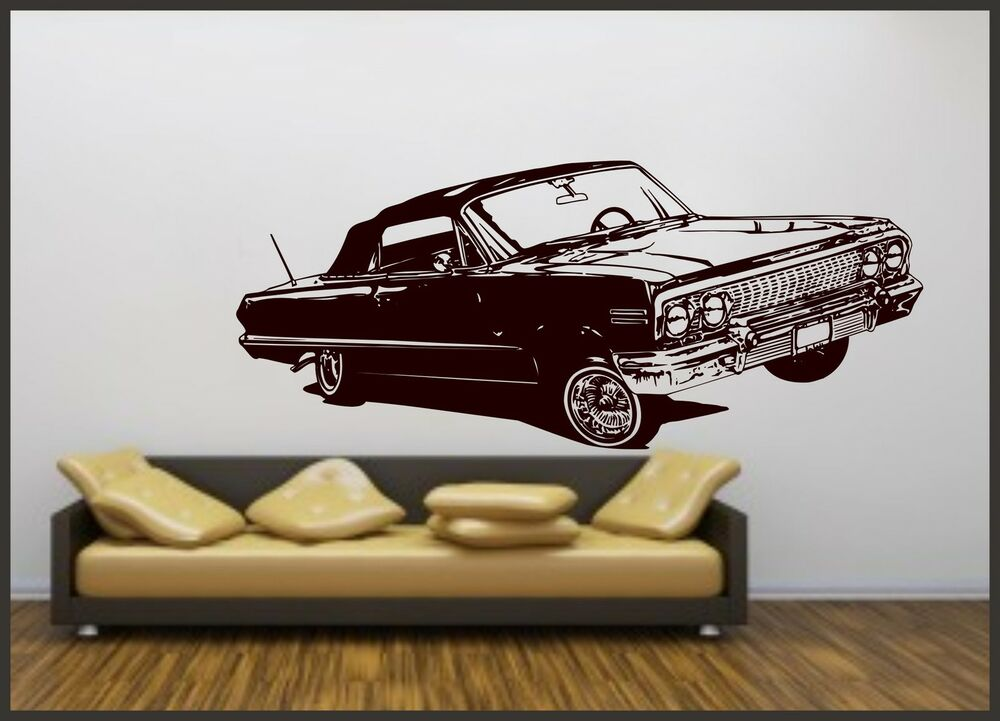 Retro classic car vinyl art sticker bedroom wall decal for Retro wall art