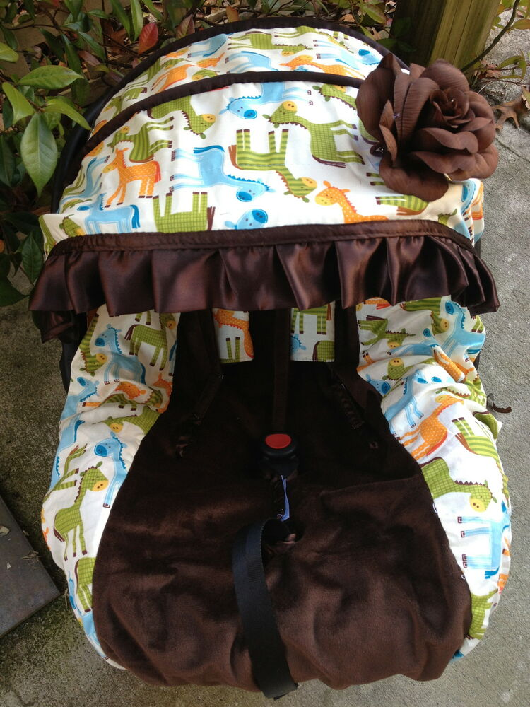 baby horse infant car seat cover canopy cover slip cover fit most seat boy girl ebay. Black Bedroom Furniture Sets. Home Design Ideas