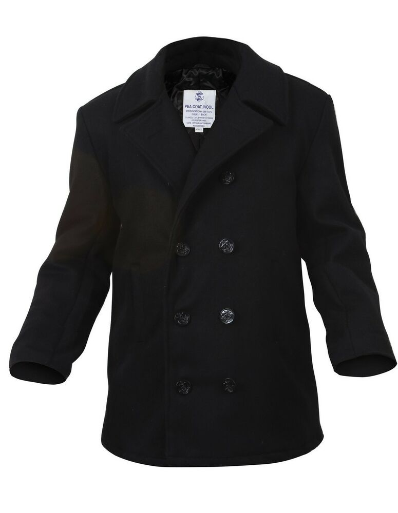 Mens Coat - Wool US Navy Type Pea Coat Black by Rothco ALL SIZES