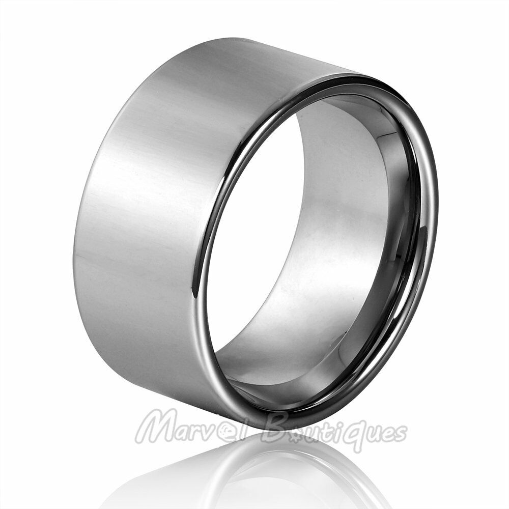 12mm s tungsten carbide polished pipe cut band wedding