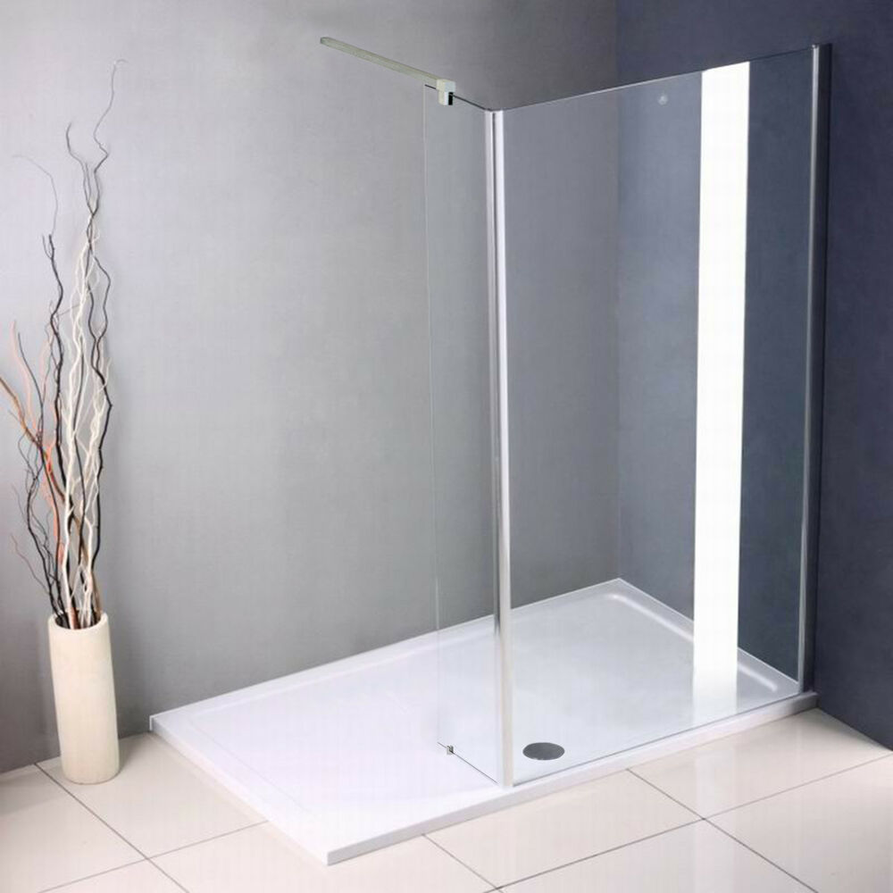 Walk in shower enclosure wet room screen glass cubicle side panel stone tray a33 ebay - Walk in glass shower enclosures ...