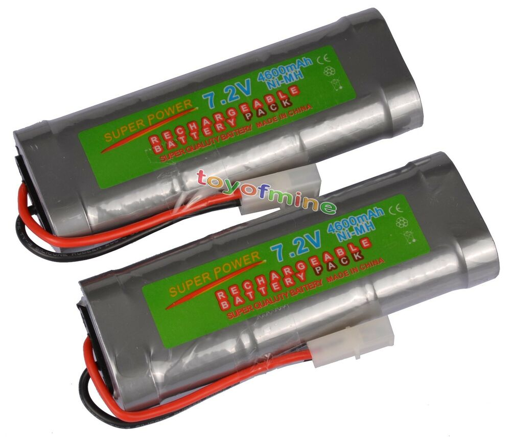 2 pcs 7 2v 4600mah ni mh rechargeable battery pack rc w tamiya plug usa ebay. Black Bedroom Furniture Sets. Home Design Ideas