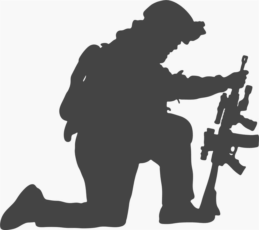 Army Soldier Kneeling Down With Gun Vinyl Wall Decal