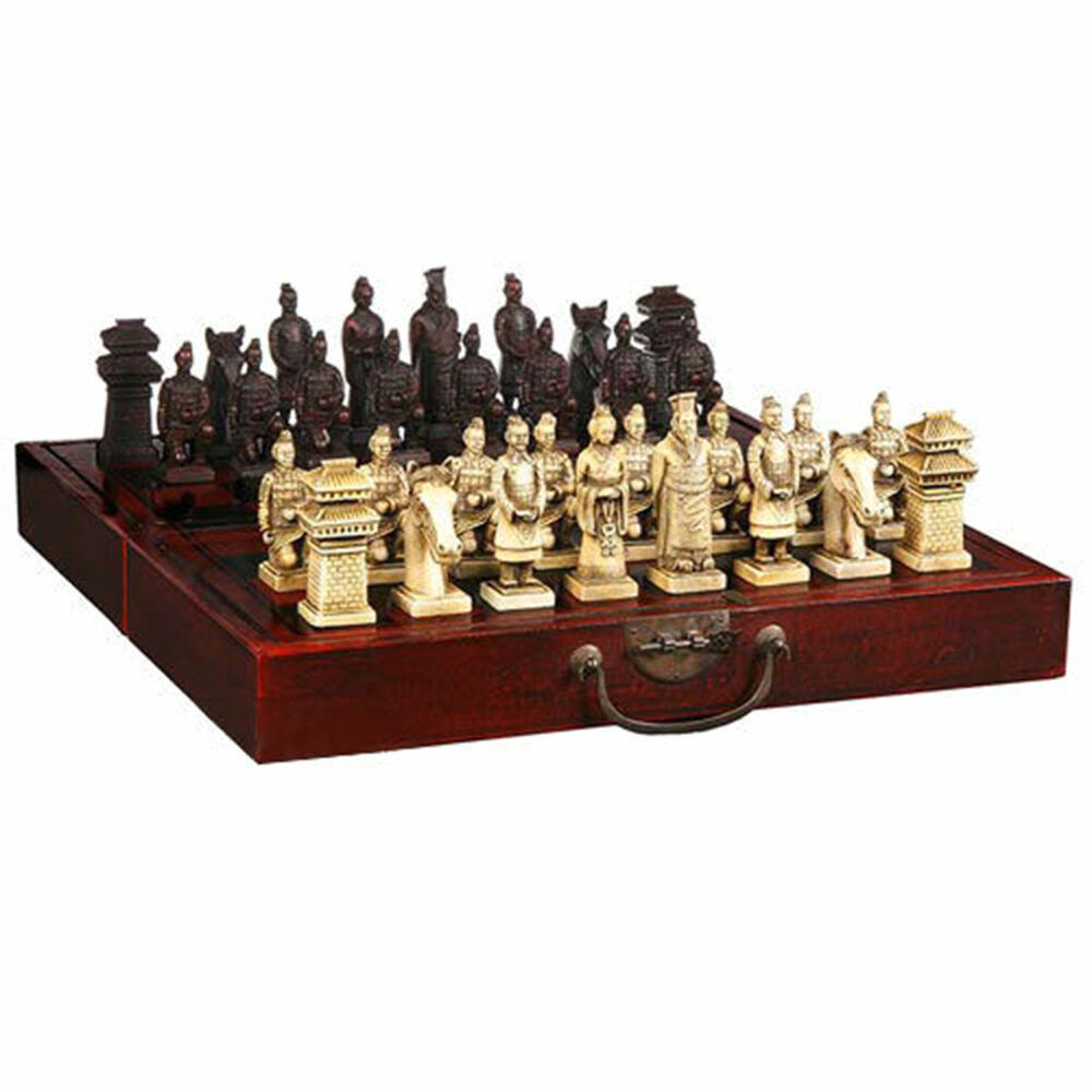 Chinese 32 pieces chess set box xian terracota warrior 39 free shipping ebay - Collectible chess sets ...