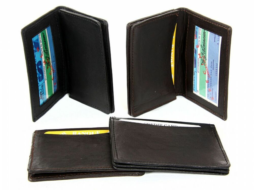 Leather Credit Card & ID Holder Slim Design Black Men's ...
