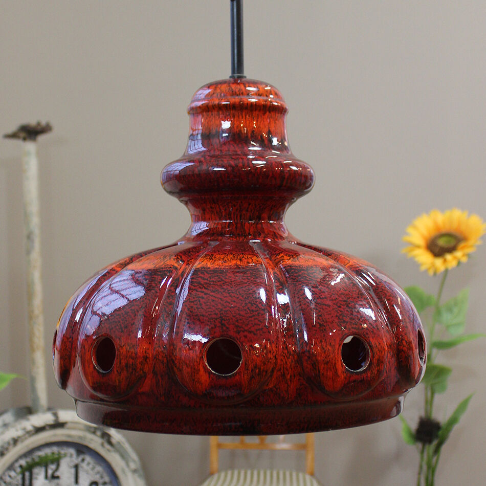 Red Vintage Mid Century Modern Ceramic Ceiling Lamp