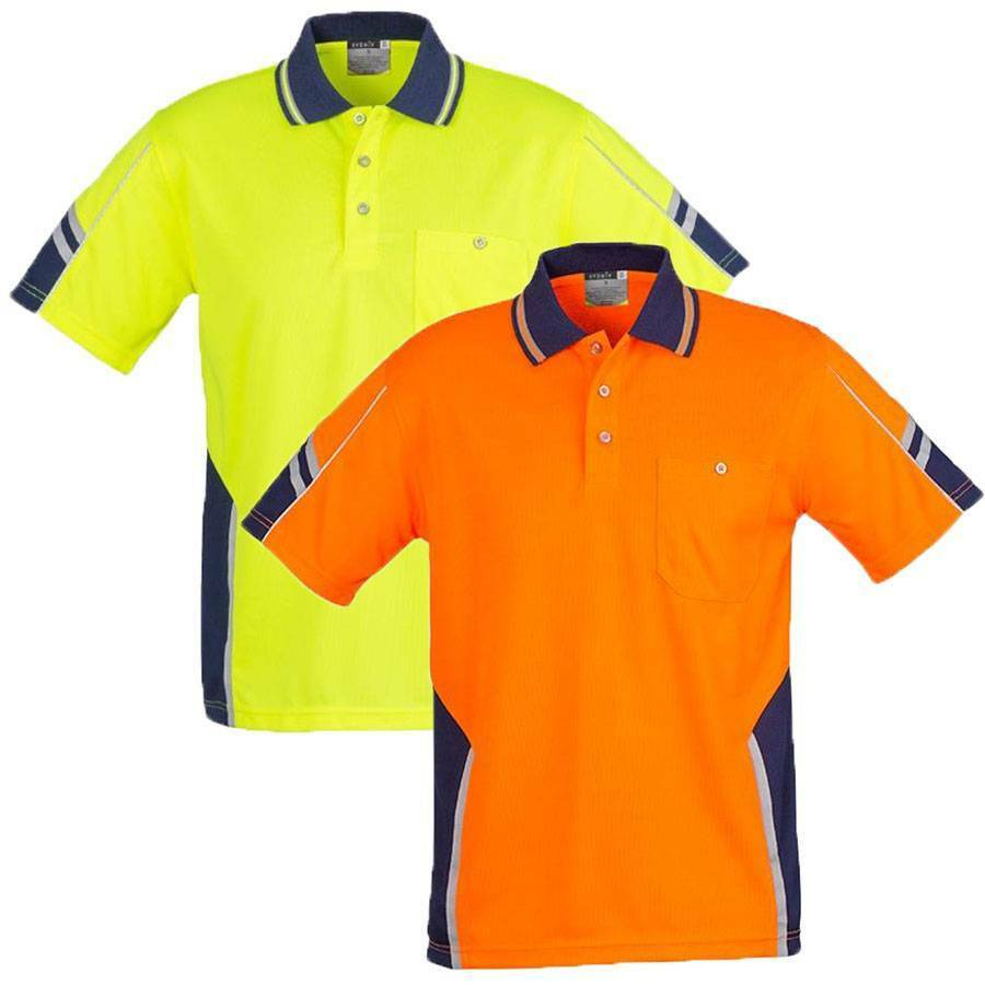 Mens Squad Hi Vis Polo Shirt Top Safety Work Wear Size Xs
