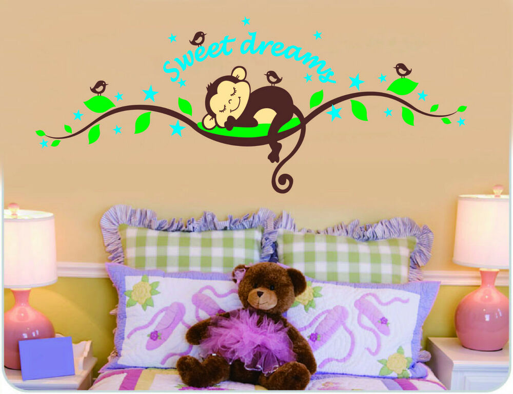 wandtattoo affe wand sticker wandaufkleber wand design dschungel kinderzimmer ebay. Black Bedroom Furniture Sets. Home Design Ideas