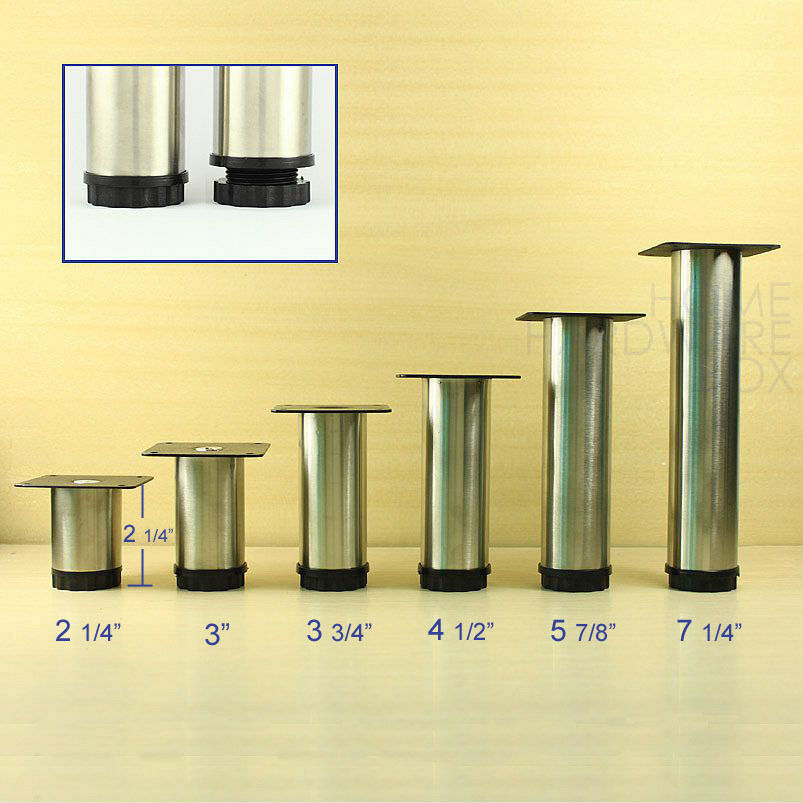 4 Pcs Cabinet Metal Legs Adjustable Stainless Steel Kitchen Feet Round Stand