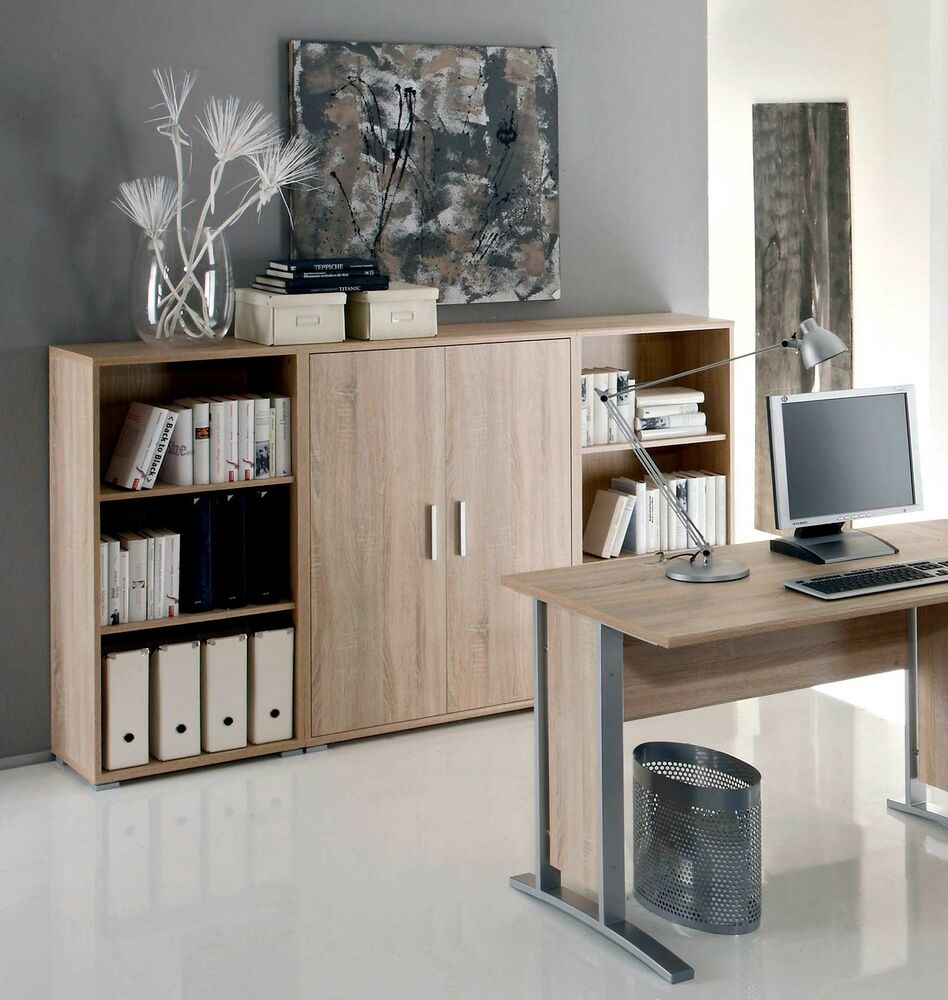 aktenschrank highboard regal schrank b rom bel office line in eiche sonoma ebay. Black Bedroom Furniture Sets. Home Design Ideas