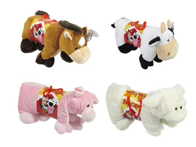 Small Toy Cows : Farm animal small pillow gift cuddly travel cushion soft