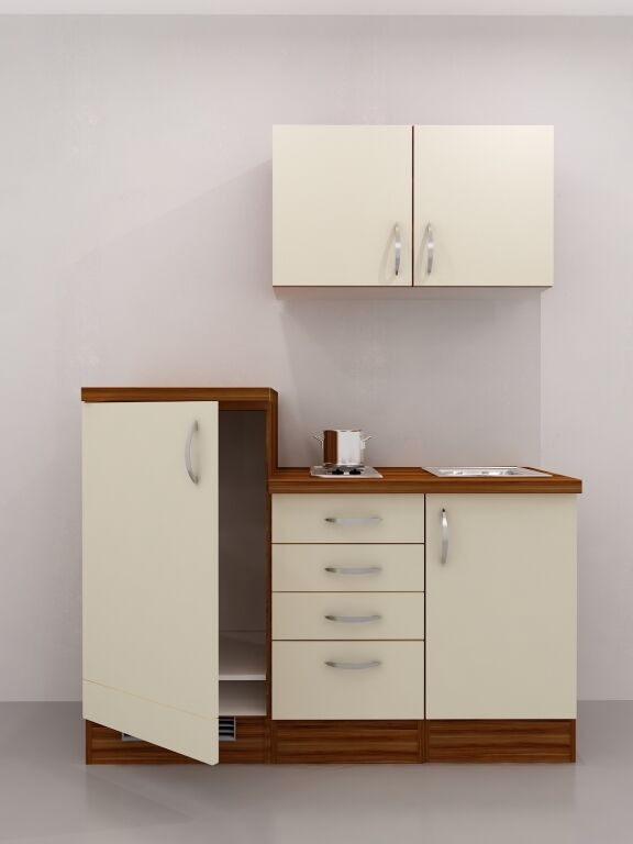 single k che 160 cm vanille ohne k hlschrank mit kochplatte sienna ebay. Black Bedroom Furniture Sets. Home Design Ideas