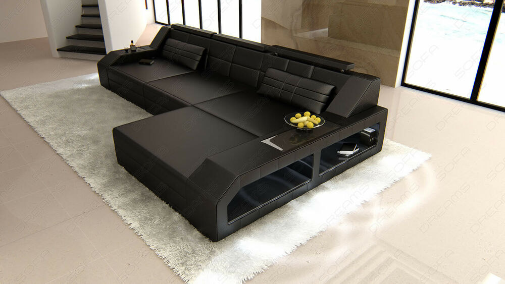 ledersofa couch garnitur arezzo l form eckcouch led beleuchtung ledercouch sofa ebay. Black Bedroom Furniture Sets. Home Design Ideas