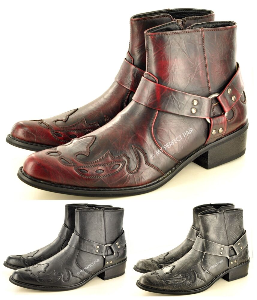 mens gents pointed toe zip western cowboy ankle boots