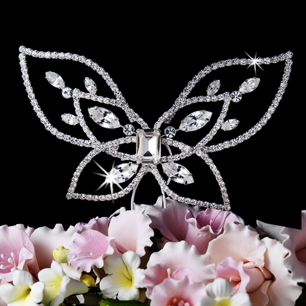 Spring summer crystal butterfly wedding cake topper floral for Butterfly wedding