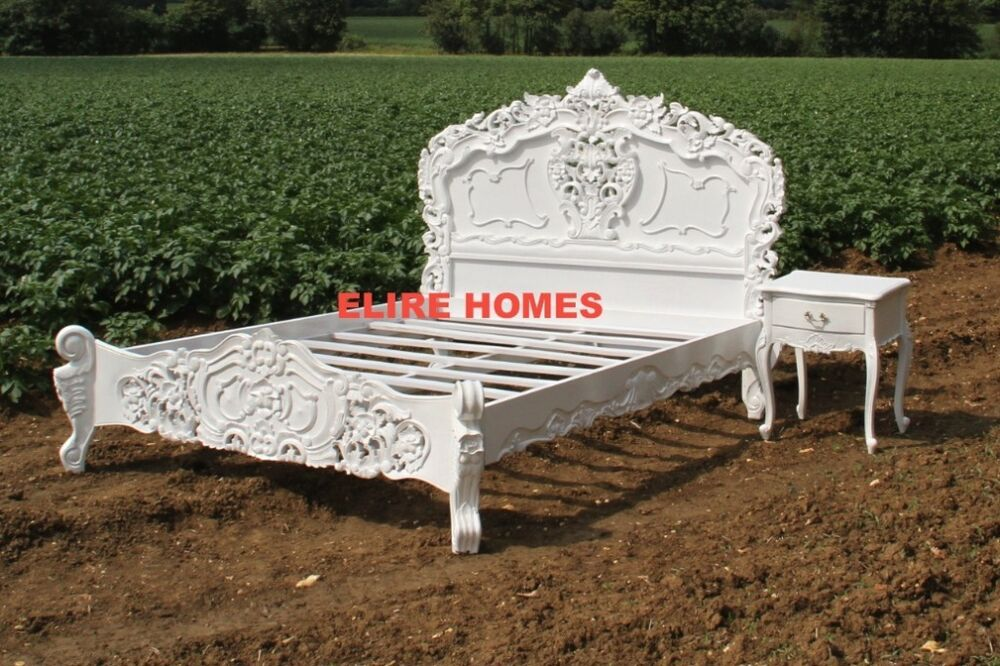 Bespoke king size or double white black shabby cream for French baroque bed