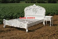 BESPOKE KING size or Double WHITE Black shabby Cream French ROCOCO Bed chic wood