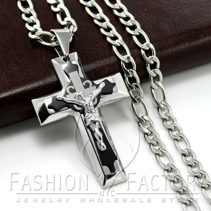 Fashion men 39 s stainless steel jesus thick cross pendant for Black and blue jewelry cross necklace