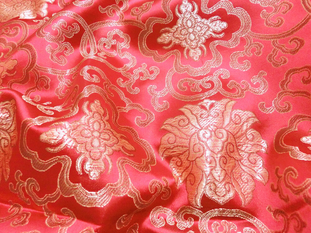 Red w gold brocade embroidered faux silk shantung chinese