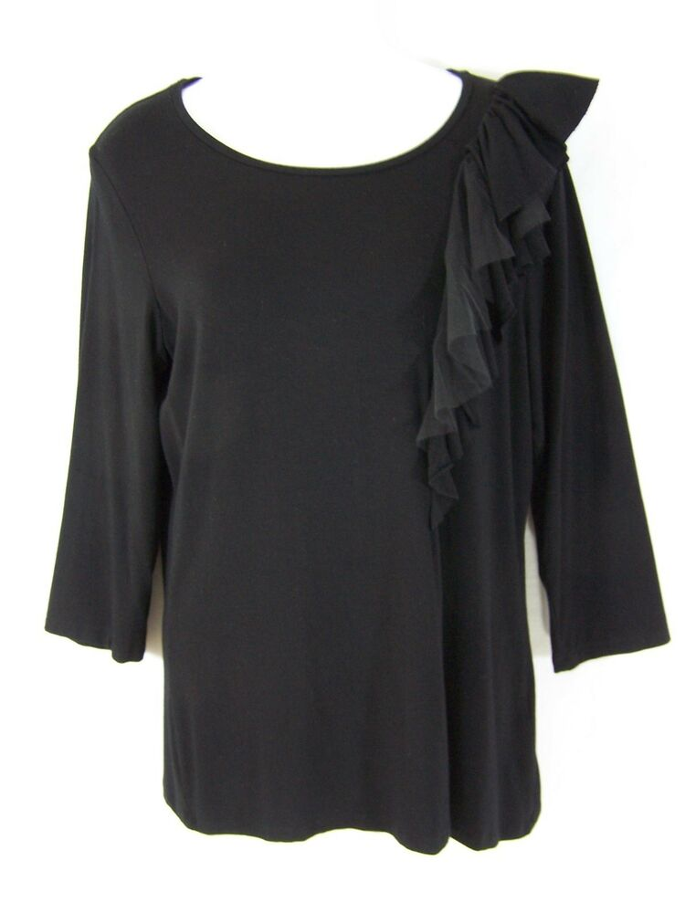 Adrienne vittadini black knit rayon ruffle top shirt for Tops shirts and blouses