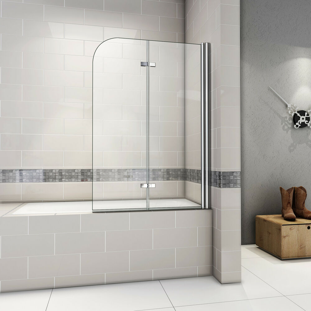 1000x1400mm 180 hinge 2 fold bath shower screen door panel tempered glass as ebay - Vitre pour douche ...