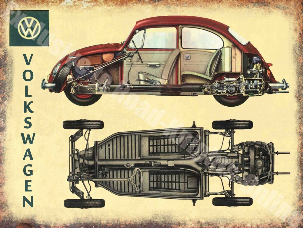 Car Old Garage Signs : Vintage garage classic car beetle cut away old advert