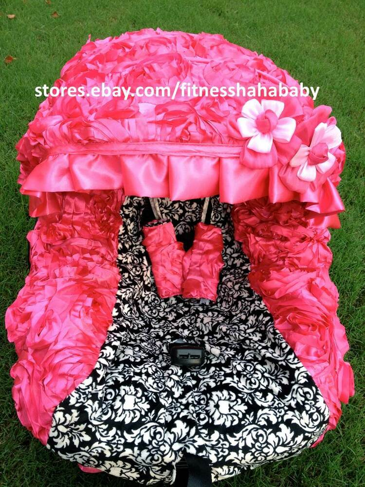 Fluffy 3d Hot Pink Infant Car Seat Cover Canopy Cover Fit