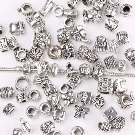 Wholesale tibetan silver mixed styles european charm beads fit charms