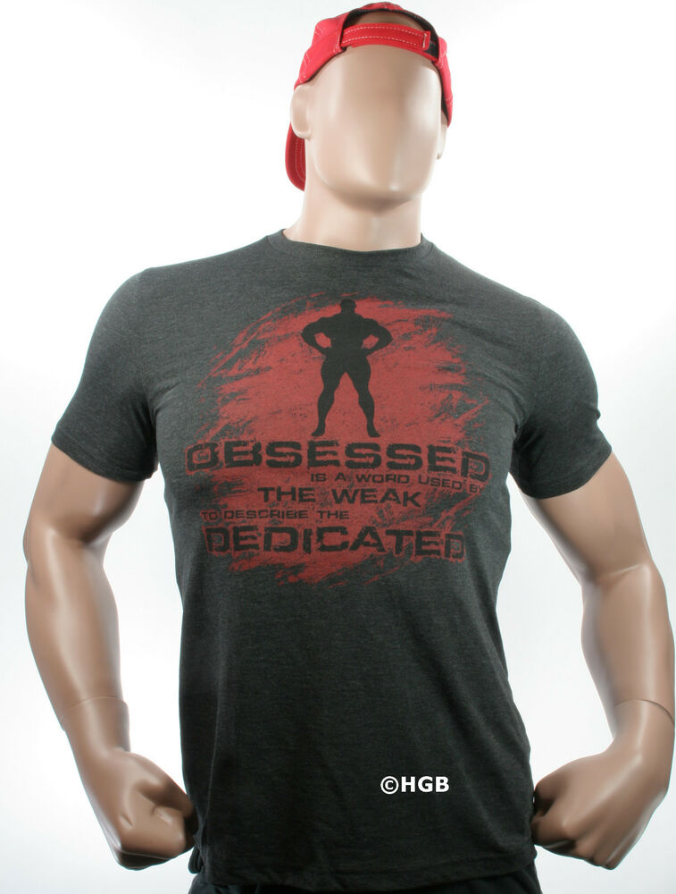 New mens graphic tee bodybuilding wear obsessed dedicated Fitness shirts for men