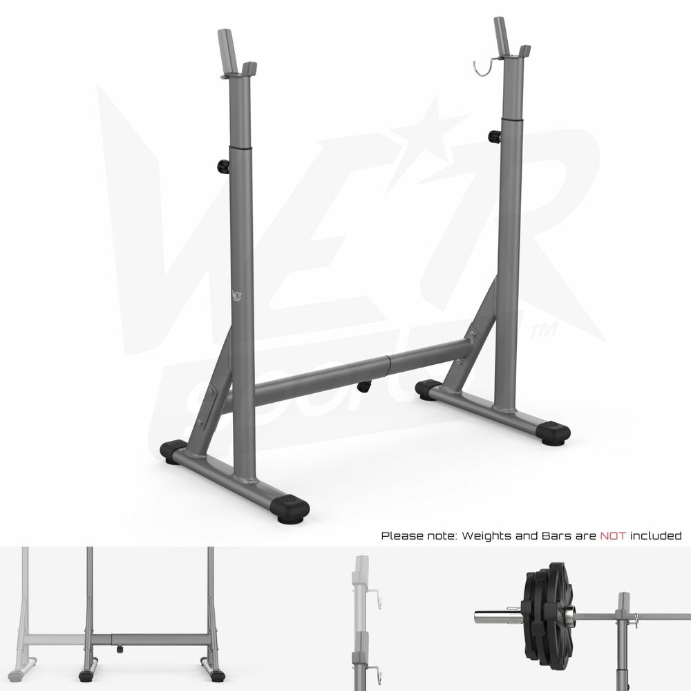 Adjustable Squat Barbell Power Rack Stand Weight Bench Support Home Gym Fitness Ebay