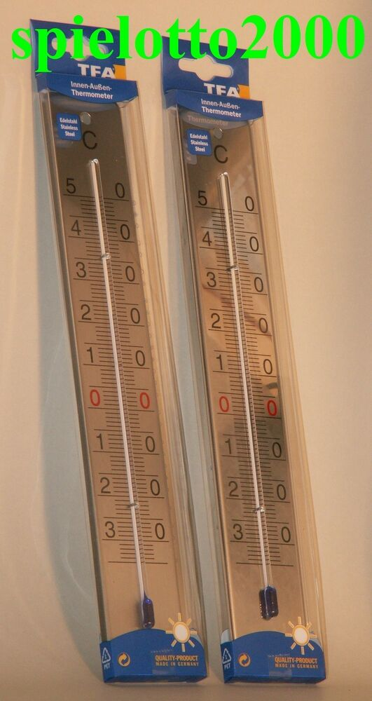 edelstahl inox thermometer innen raum aussen garten balkon terasse temperatur ebay. Black Bedroom Furniture Sets. Home Design Ideas