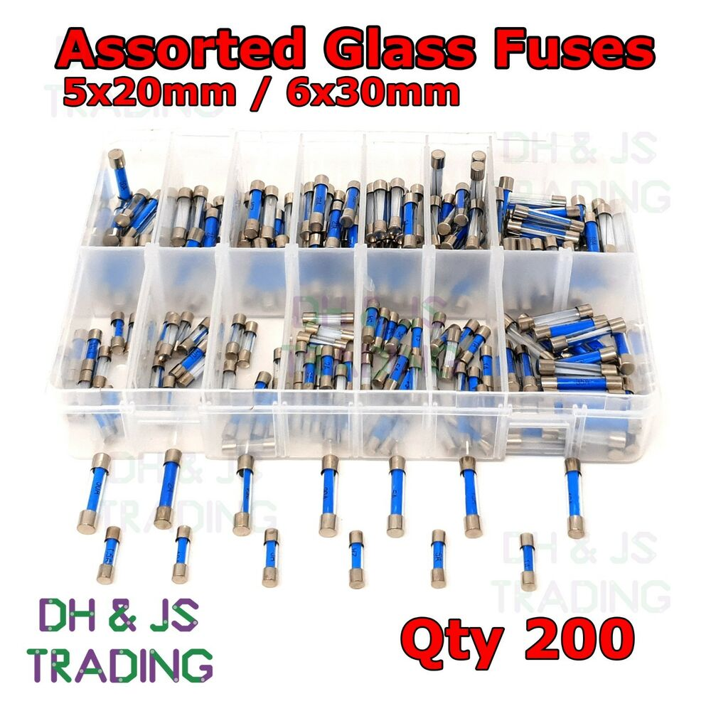 assorted box of glass fuses 20mm 30mm fuse qty 200 quick. Black Bedroom Furniture Sets. Home Design Ideas