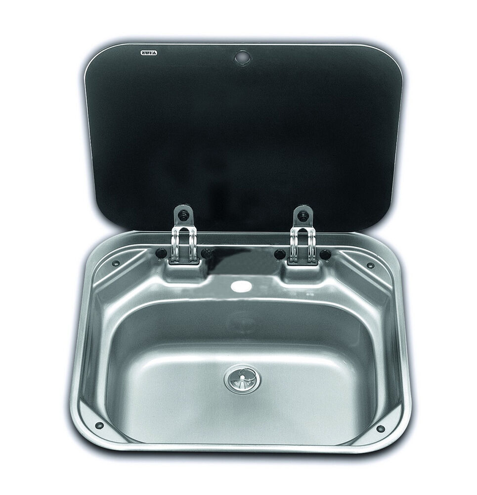 boat caravan camper sink with glass lid 420mm x 375mm smev 8005 va8005 ebay. Black Bedroom Furniture Sets. Home Design Ideas