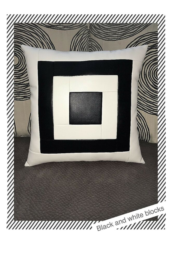 sofa black white blocks leather decorative throw case cushion pillow
